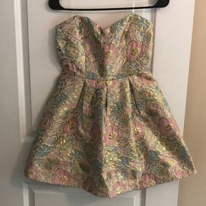 Beautiful Pastel Floral & Gold Dress, Size Small